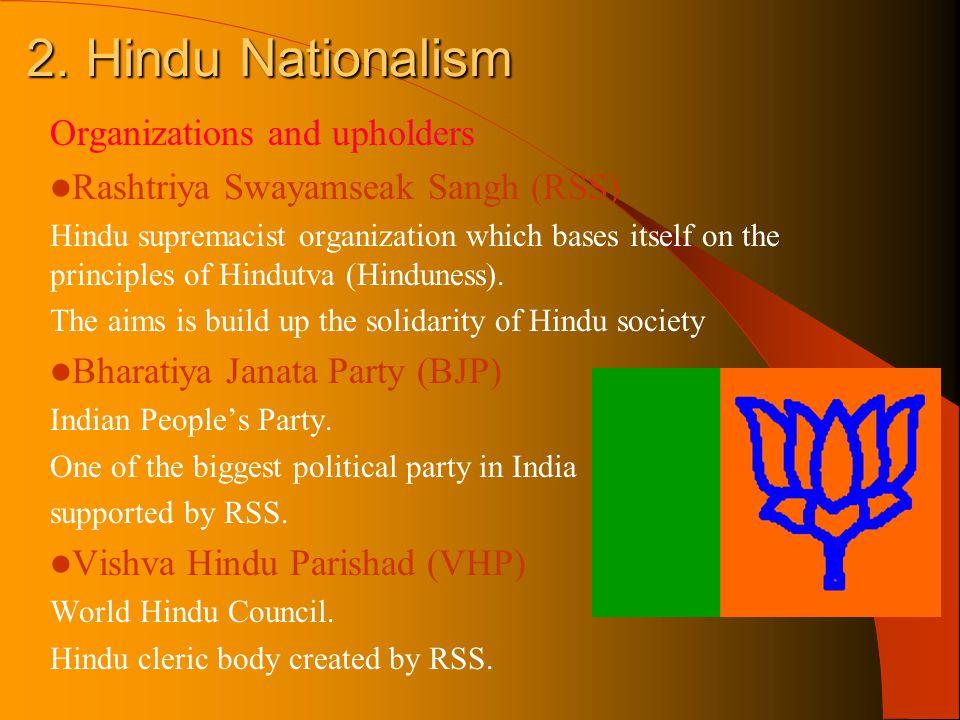 2. Hindu Nationalism Organizations and upholders Rashtriya Swayamseak Sangh (RSS) Hindu supremacist organization which bases itself on the principles
