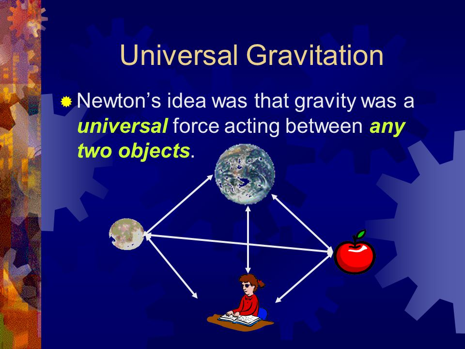 Universal Gravitation  Newton's idea was that gravity was a universal force acting between any two objects.