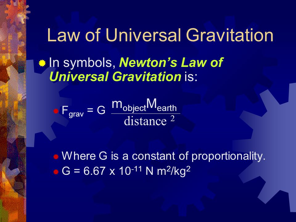 Law of Universal Gravitation  In symbols, Newton's Law of Universal Gravitation is:  F grav = G  Where G is a constant of proportionality.