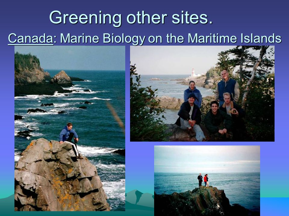 Canada: Marine Biology on the Maritime Islands Greening other sites.