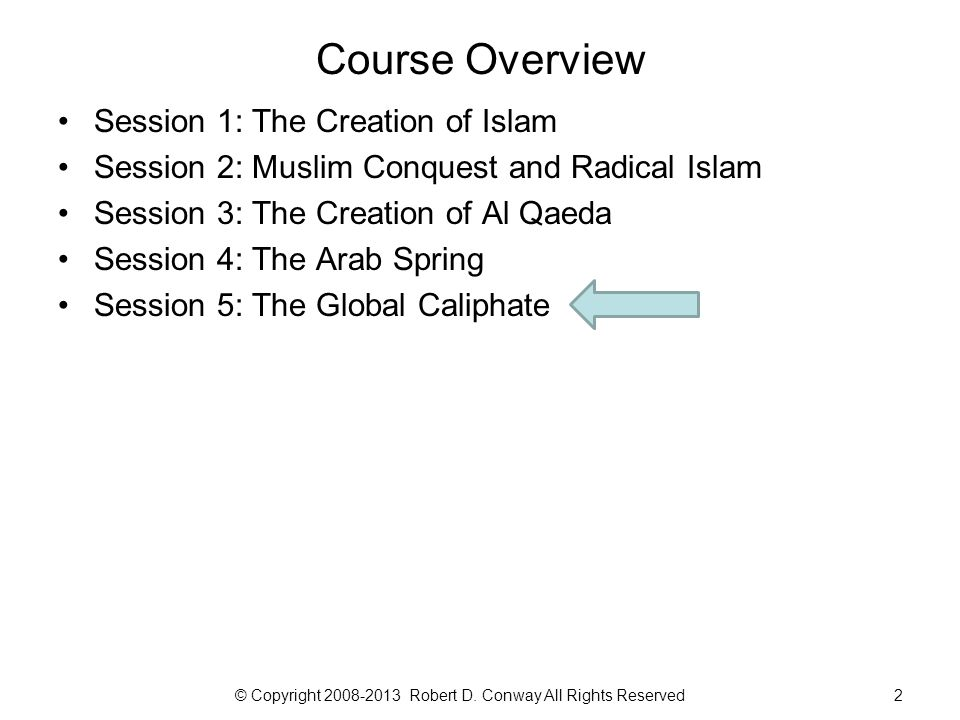 3 Class Session 5: The Global Caliphate © Copyright 2008-2013 Robert D. Conway All Rights Reserved