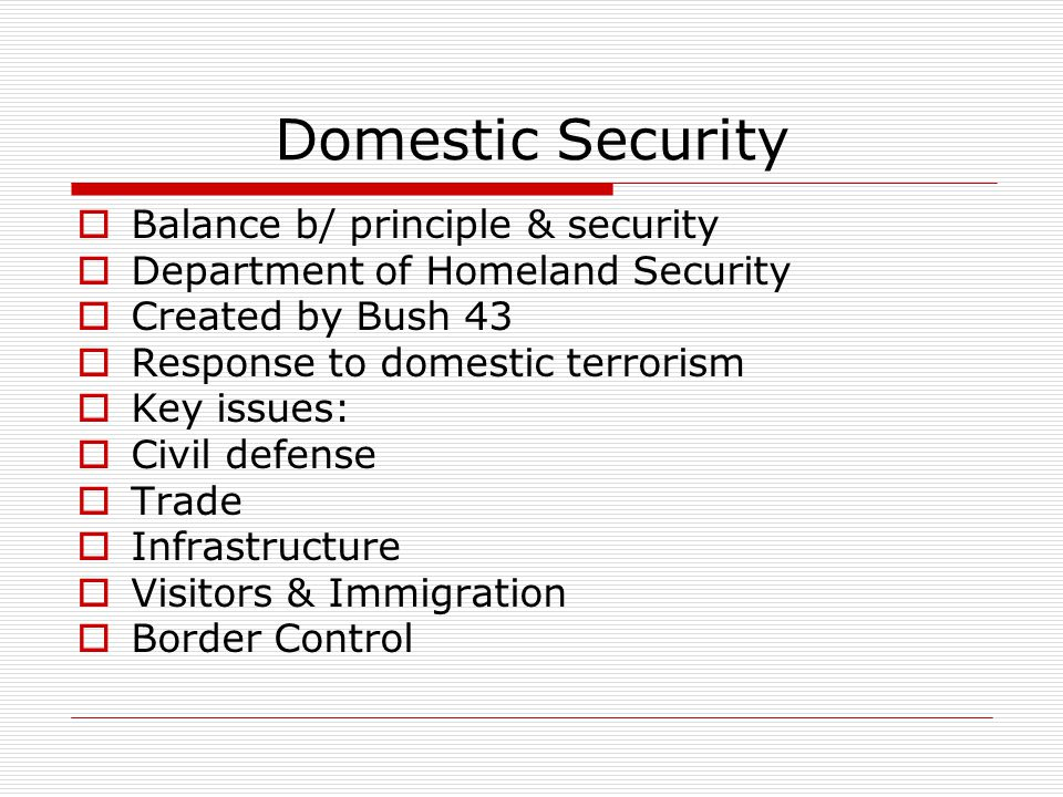 Domestic Security  Balance b/ principle & security  Department of Homeland Security  Created by Bush 43  Response to domestic terrorism  Key issues:  Civil defense  Trade  Infrastructure  Visitors & Immigration  Border Control