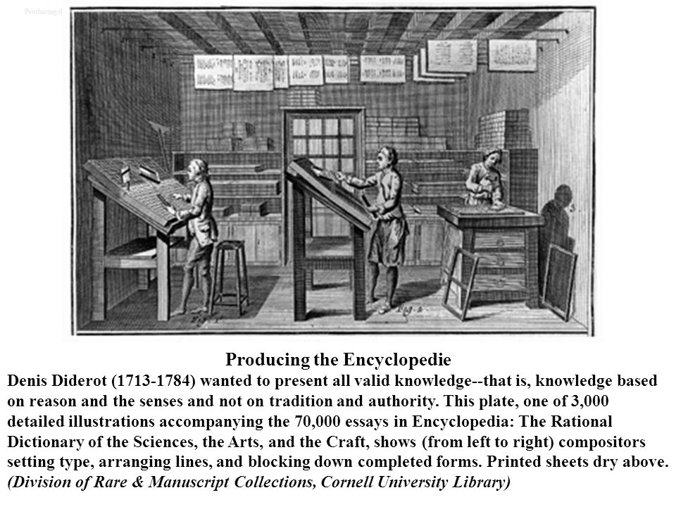 Producing the Encyclopedie Denis Diderot (1713-1784) wanted to present all valid knowledge--that is, knowledge based on reason and the senses and not