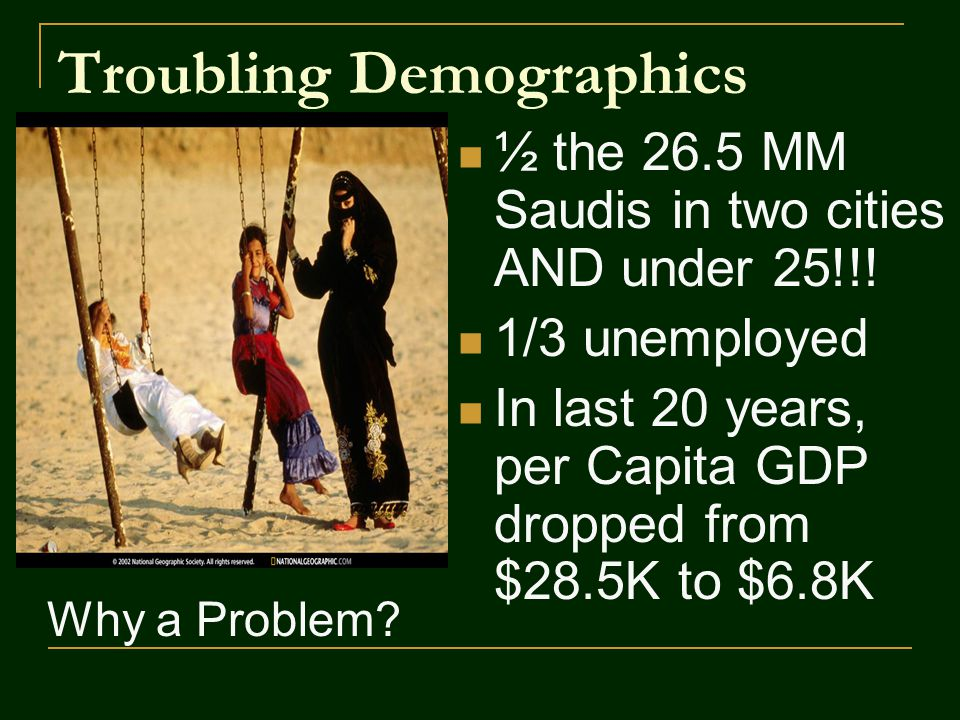 Troubling Demographics ½ the 26.5 MM Saudis in two cities AND under 25!!.