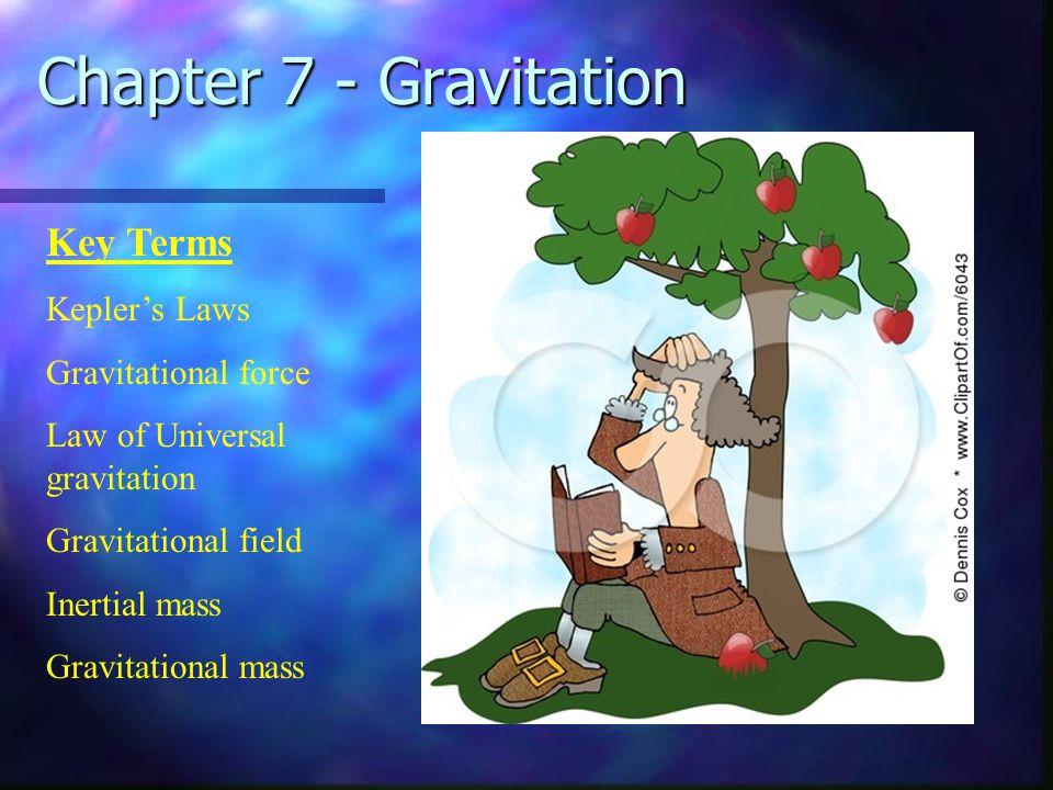 Chapter 7 - Gravitation Key Terms Kepler's Laws Gravitational force Law of Universal gravitation Gravitational field Inertial mass Gravitational mass