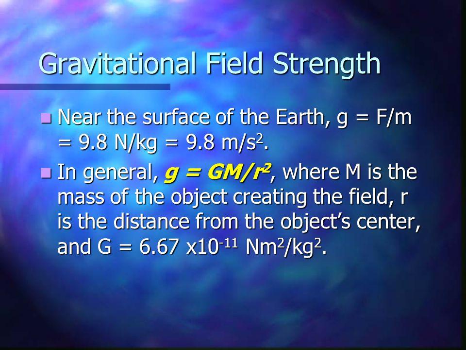 Gravitational Field Strength Near the surface of the Earth, g = F/m = 9.8 N/kg = 9.8 m/s 2. Near the surface of the Earth, g = F/m = 9.8 N/kg = 9.8 m/
