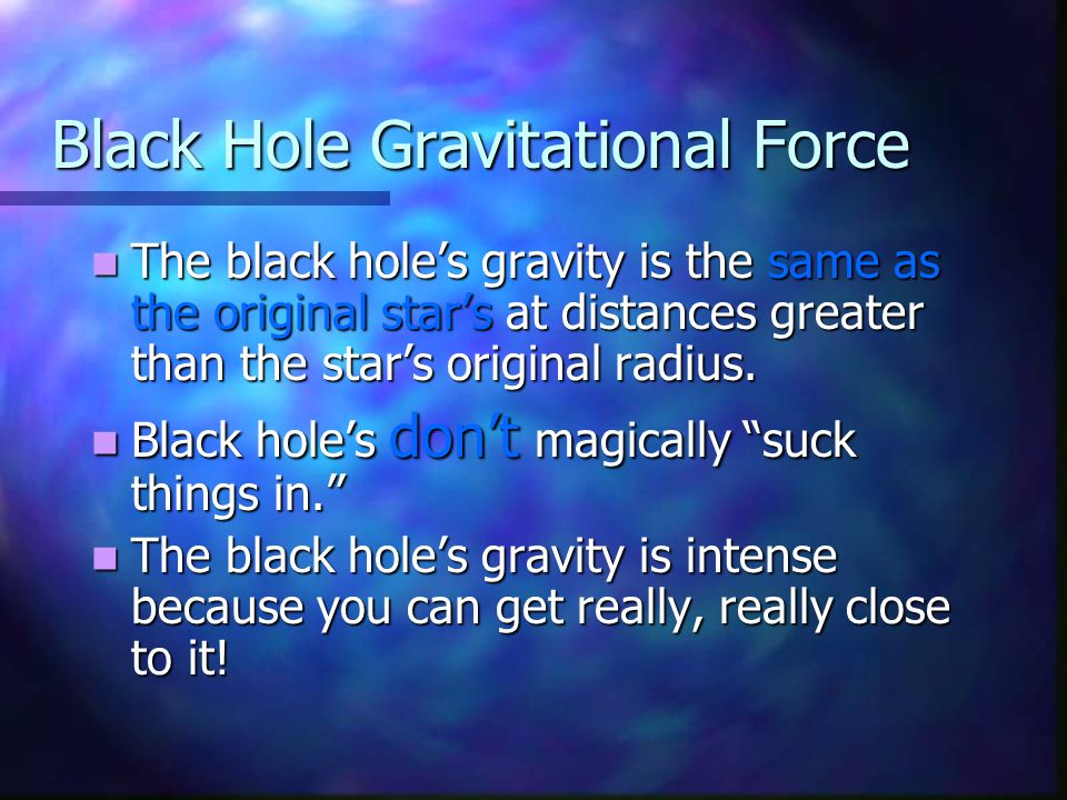 The black hole's gravity is the same as the original star's at distances greater than the star's original radius. The black hole's gravity is the same