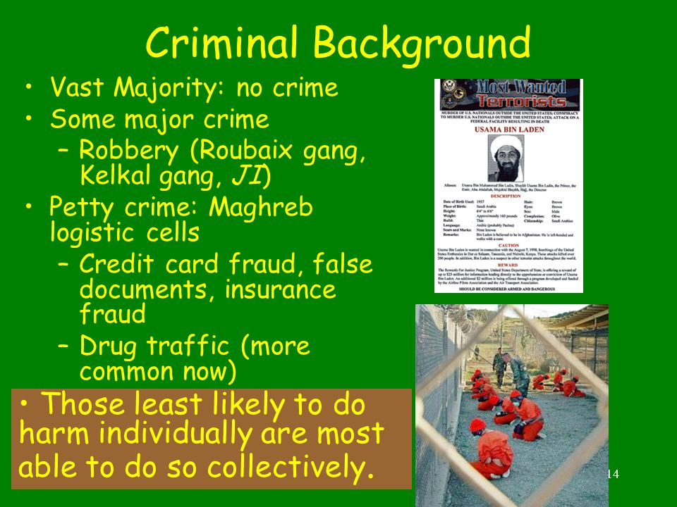 14 Criminal Background Vast Majority: no crime Some major crime –Robbery (Roubaix gang, Kelkal gang, JI) Petty crime: Maghreb logistic cells –Credit card fraud, false documents, insurance fraud –Drug traffic (more common now) Those least likely to do harm individually are most able to do so collectively.