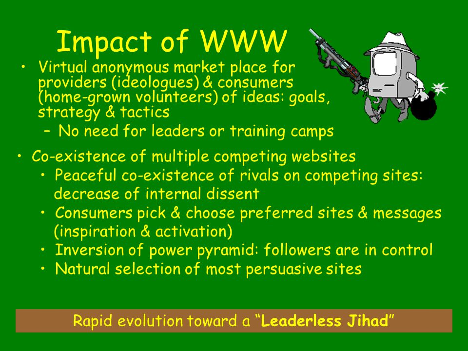 41 Impact of WWW Virtual anonymous market place for providers (ideologues) & consumers (home-grown volunteers) of ideas: goals, strategy & tactics –No need for leaders or training camps Rapid evolution toward a Leaderless Jihad Co-existence of multiple competing websites Peaceful co-existence of rivals on competing sites: decrease of internal dissent Consumers pick & choose preferred sites & messages (inspiration & activation) Inversion of power pyramid: followers are in control Natural selection of most persuasive sites