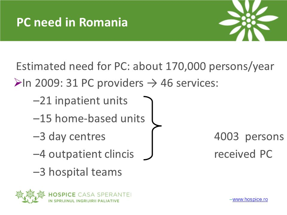 PC need in Romania Estimated need for PC: about 170,000 persons/year  In 2009: 31 PC providers → 46 services: –21 inpatient units –15 home-based units –3 day centres4003 persons –4 outpatient clincisreceived PC –3 hospital teams –www.hospice.rowww.hospice.ro