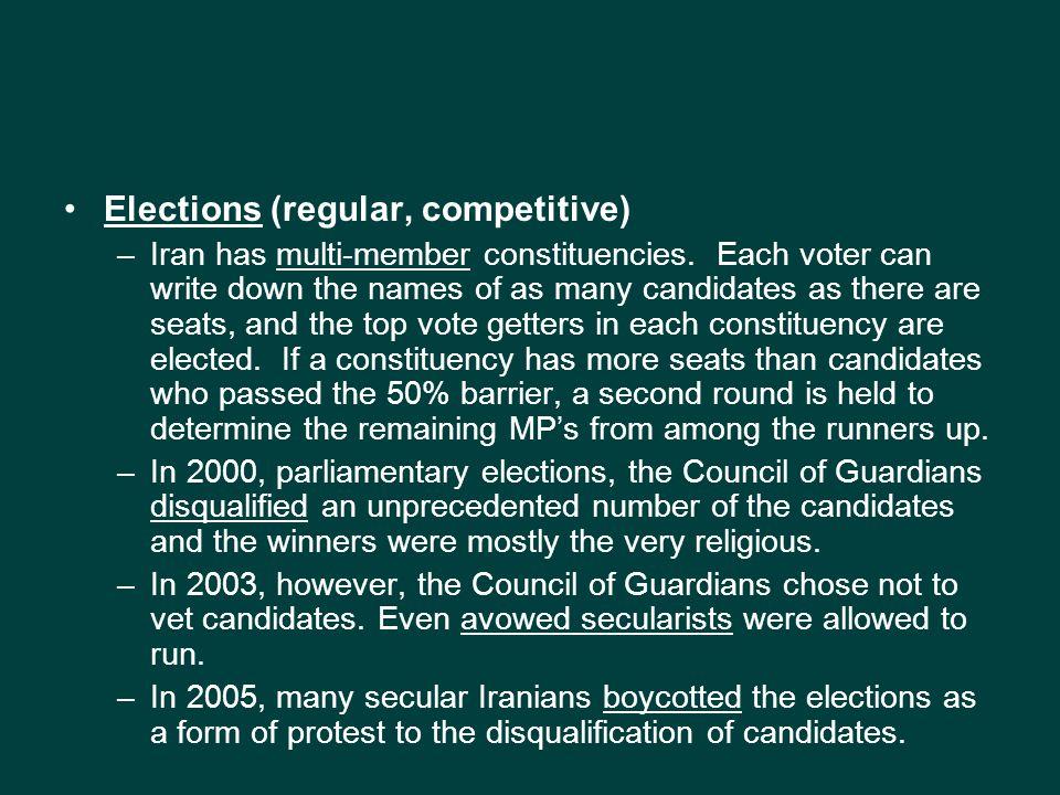 Elections (regular, competitive) –Iran has multi-member constituencies.