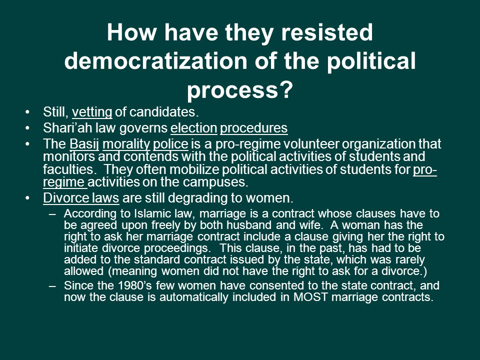 How have they resisted democratization of the political process.