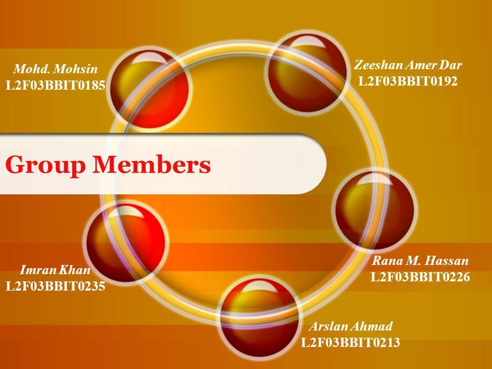 Group Members Mohd. Mohsin L2F03BBIT0185 Zeeshan Amer Dar L2F03BBIT0192 Rana M.