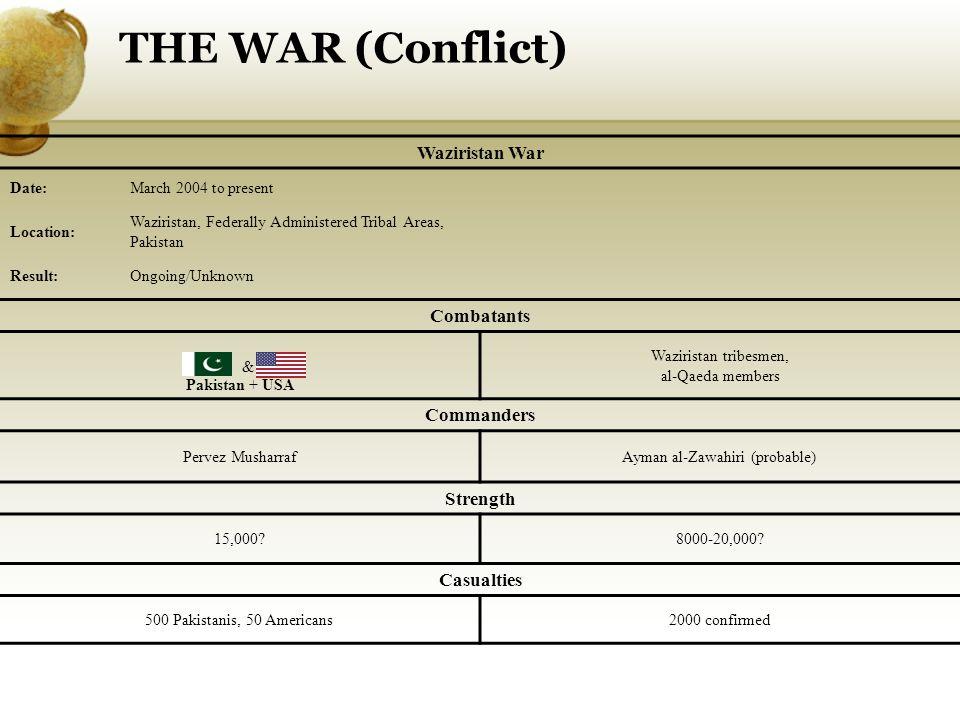 THE WAR (Conflict) & Waziristan War Combatants Pakistan + USA Waziristan tribesmen, al-Qaeda members Commanders Pervez MusharrafAyman al-Zawahiri (probable) Strength 15,000 8000-20,000.