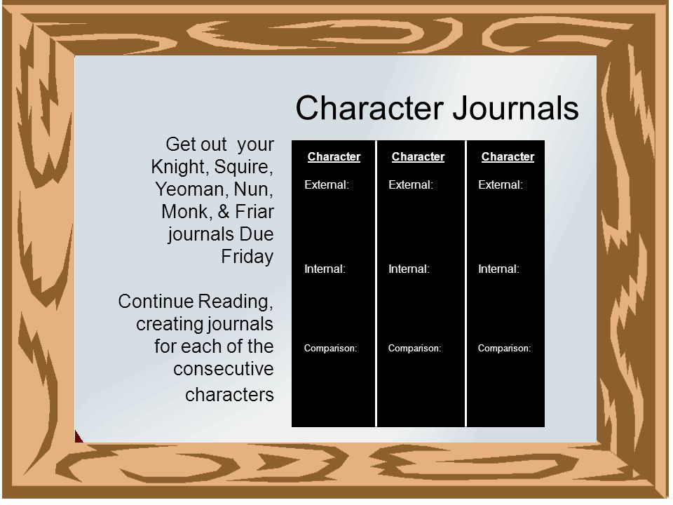 Character Journals Character External: Internal: Comparison: Character External: Internal: Comparison: Character External: Internal: Comparison: Get out your Knight, Squire, Yeoman, Nun, Monk, & Friar journals Due Friday Continue Reading, creating journals for each of the consecutive characters