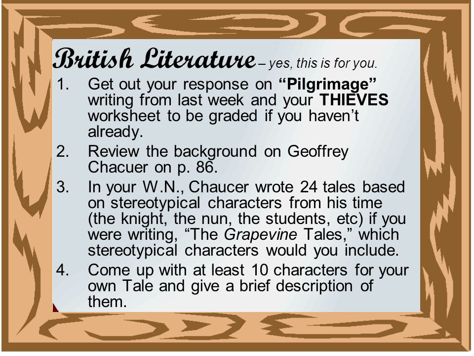 British Literature – yes, this is for you.