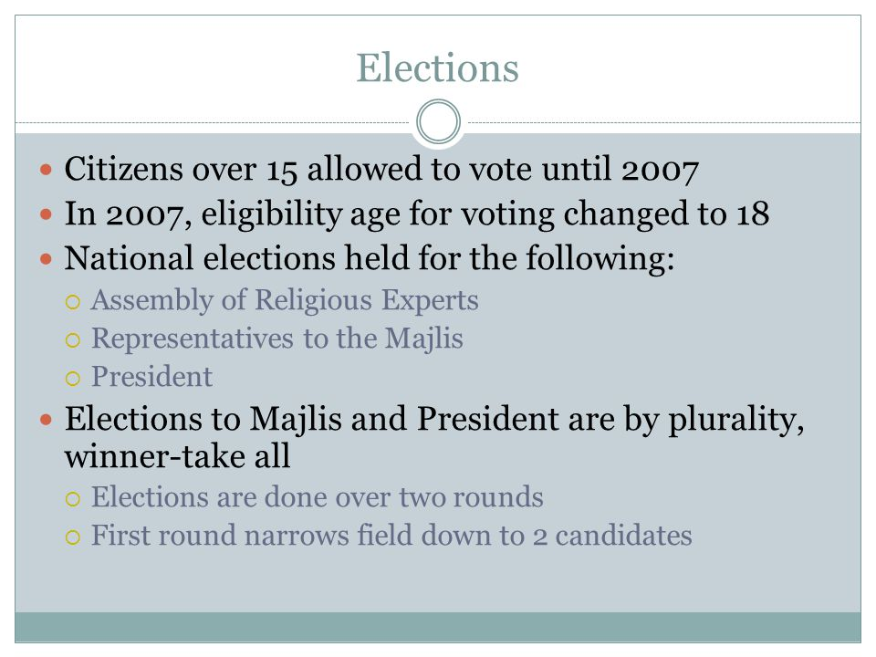 Elections Citizens over 15 allowed to vote until 2007 In 2007, eligibility age for voting changed to 18 National elections held for the following:  A