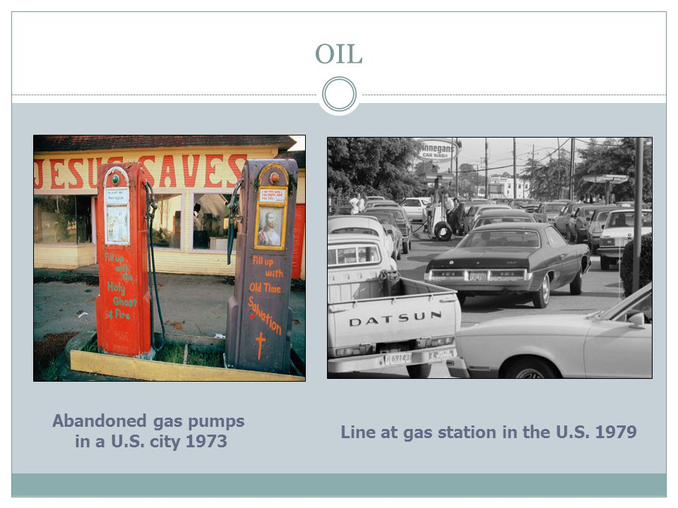 OIL Abandoned gas pumps in a U.S. city 1973 Line at gas station in the U.S. 1979