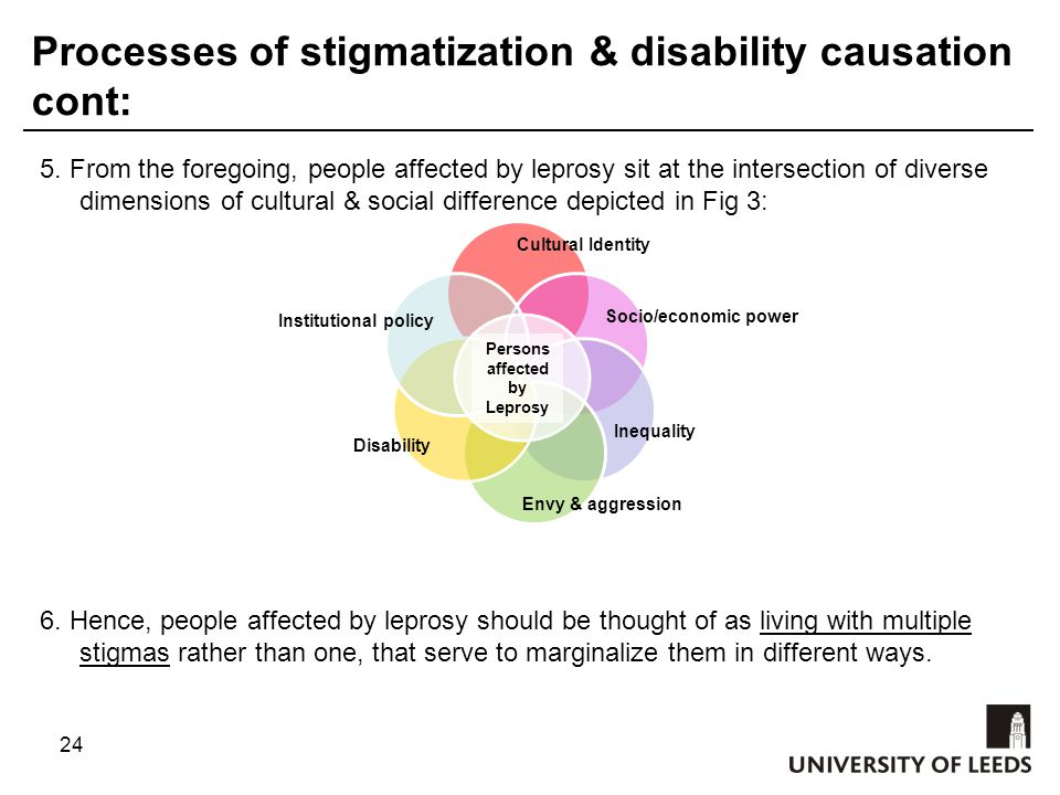 24 Processes of stigmatization & disability causation cont: 5.