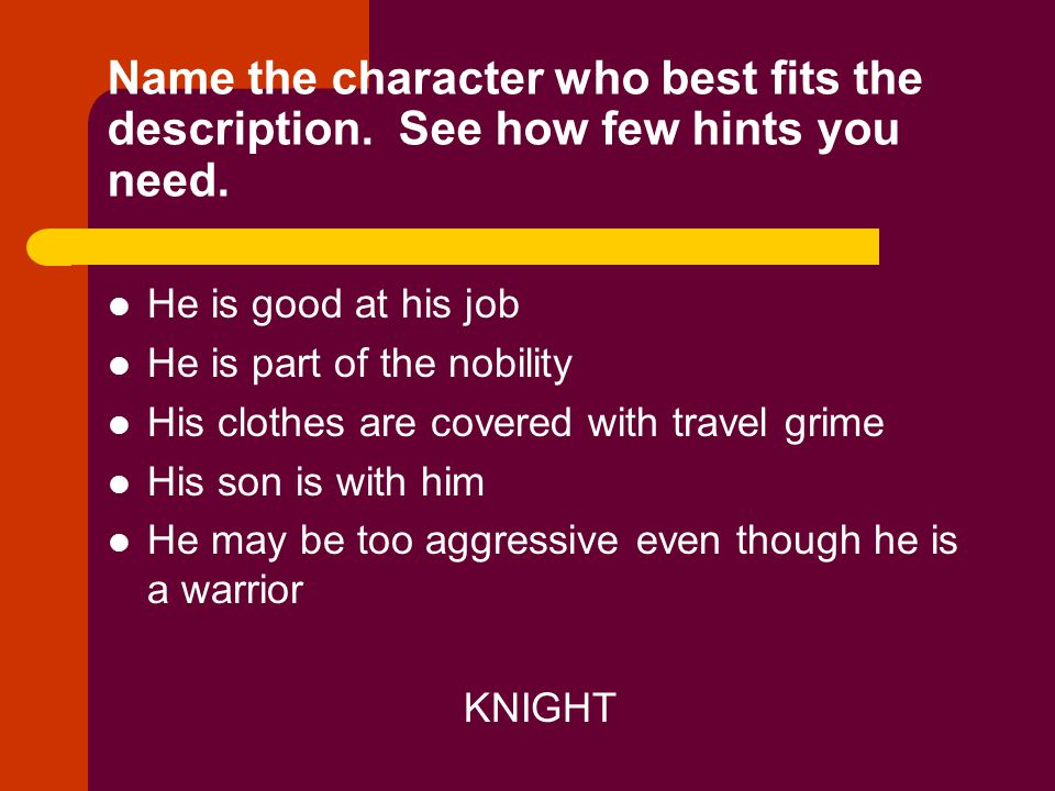 Name the character who best fits the description. See how few hints you need. He is good at his job He is part of the nobility His clothes are covered