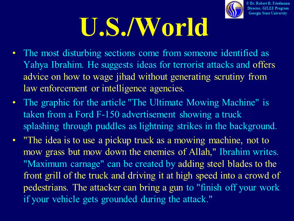 U.S./World The most disturbing sections come from someone identified as Yahya Ibrahim.