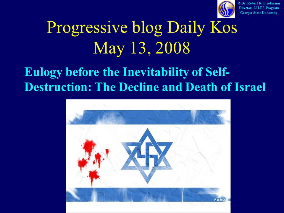 Progressive blog Daily Kos May 13, 2008 © Dr. Robert R.