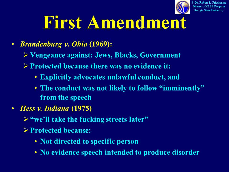 First Amendment Brandenburg v.