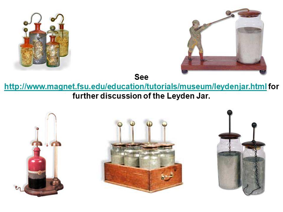 See http://www.magnet.fsu.edu/education/tutorials/museum/leydenjar.html for further discussion of the Leyden Jar. http://www.magnet.fsu.edu/education/