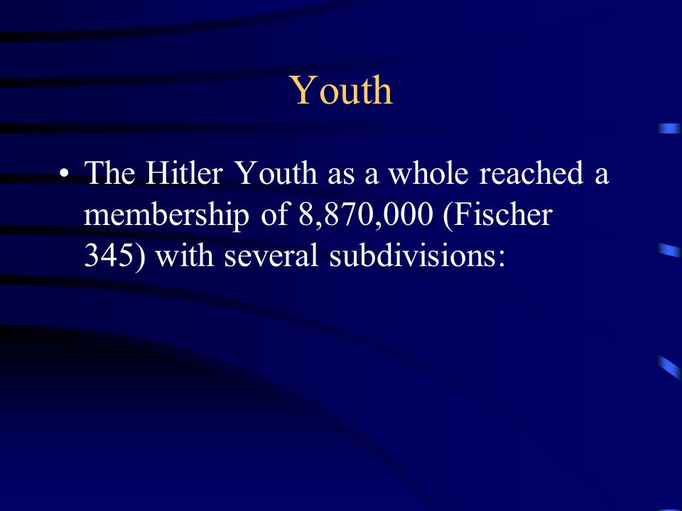 Youth The Hitler Youth as a whole reached a membership of 8,870,000 (Fischer 345) with several subdivisions: