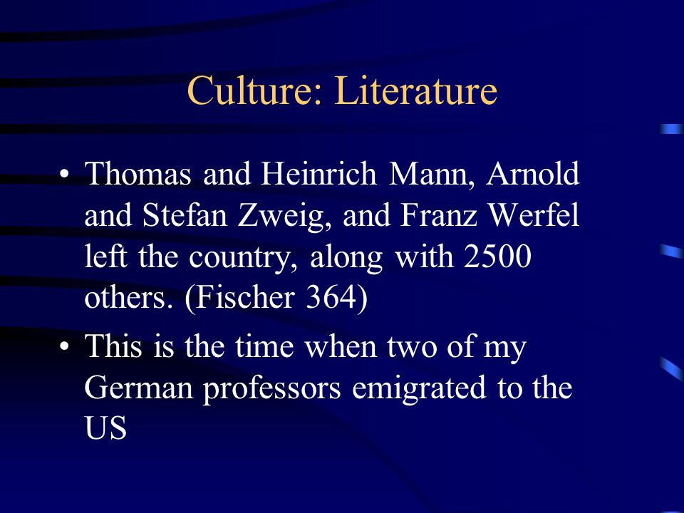 Culture: Literature Thomas and Heinrich Mann, Arnold and Stefan Zweig, and Franz Werfel left the country, along with 2500 others.