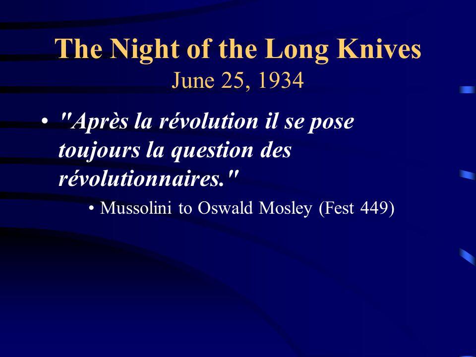 The Night of the Long Knives June 25, 1934 Après la révolution il se pose toujours la question des révolutionnaires. Mussolini to Oswald Mosley (Fest 449)