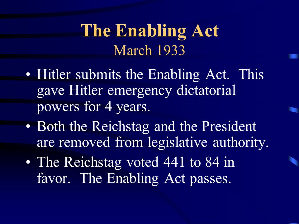 The Enabling Act March 1933 Hitler submits the Enabling Act.