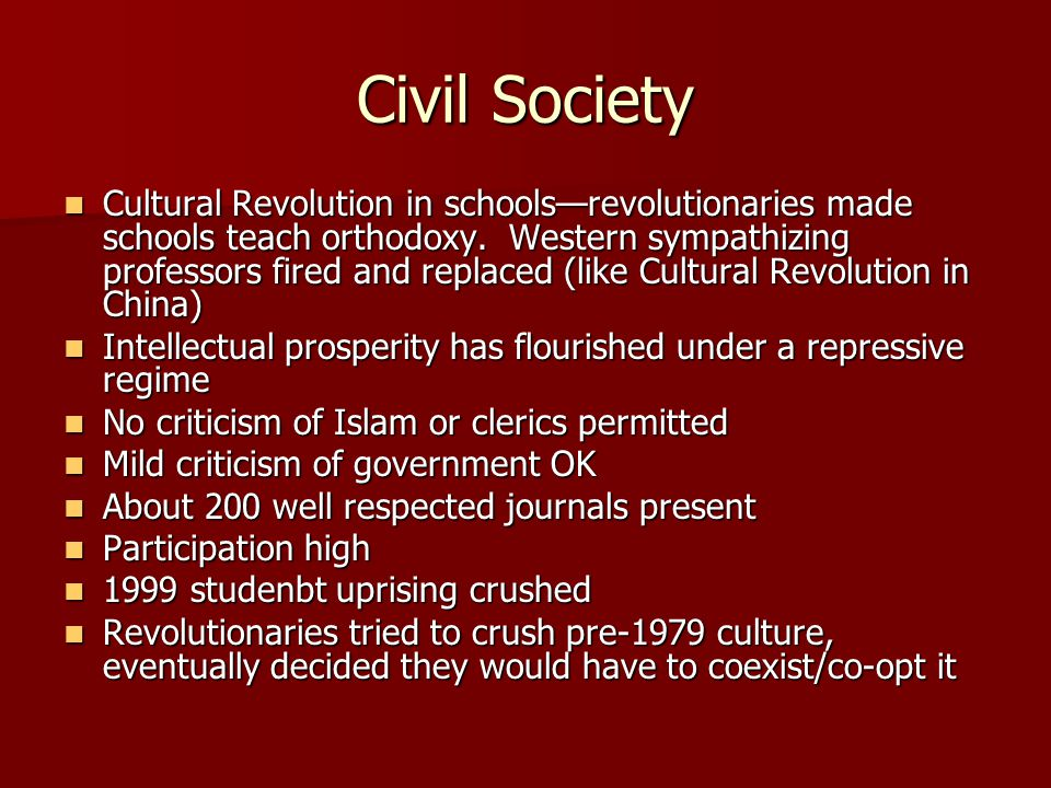 Civil Society Cultural Revolution in schools—revolutionaries made schools teach orthodoxy.