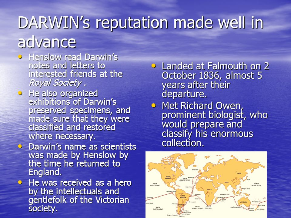 DARWIN's reputation made well in advance Henslow read Darwin's notes and letters to interested friends at the Royal Society.