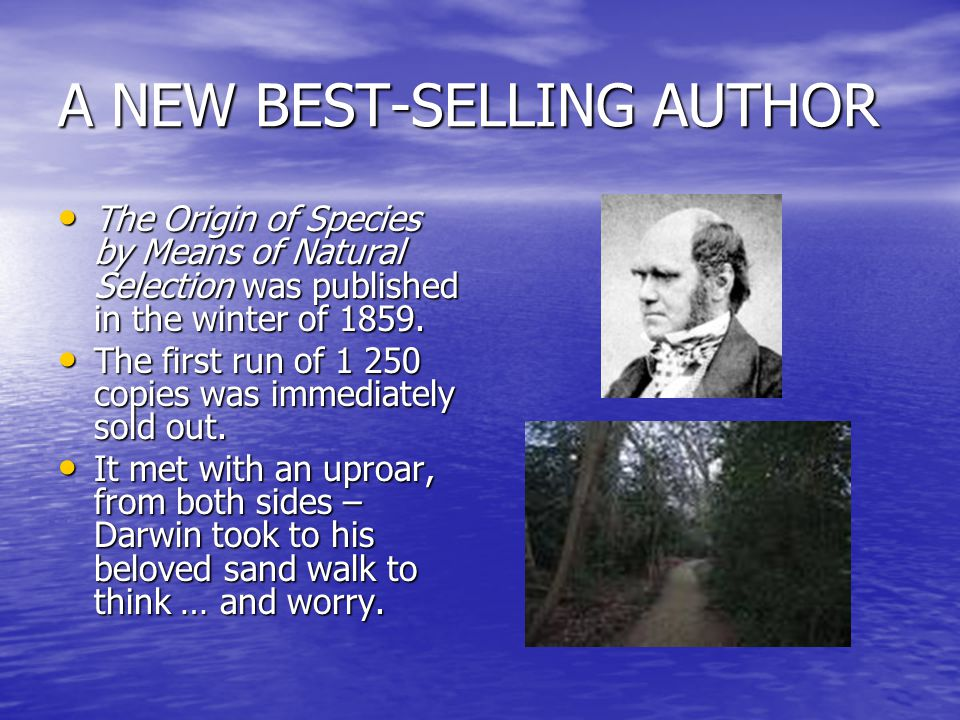 A NEW BEST-SELLING AUTHOR The Origin of Species by Means of Natural Selection was published in the winter of 1859.