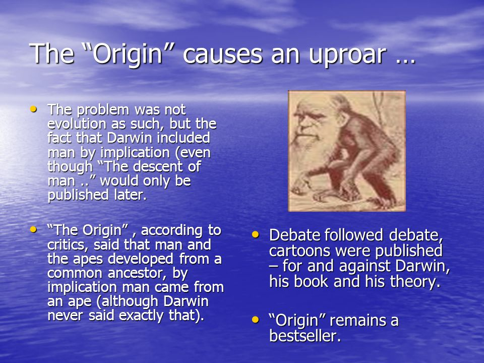 The Origin causes an uproar … The problem was not evolution as such, but the fact that Darwin included man by implication (even though The descent of man.. would only be published later.