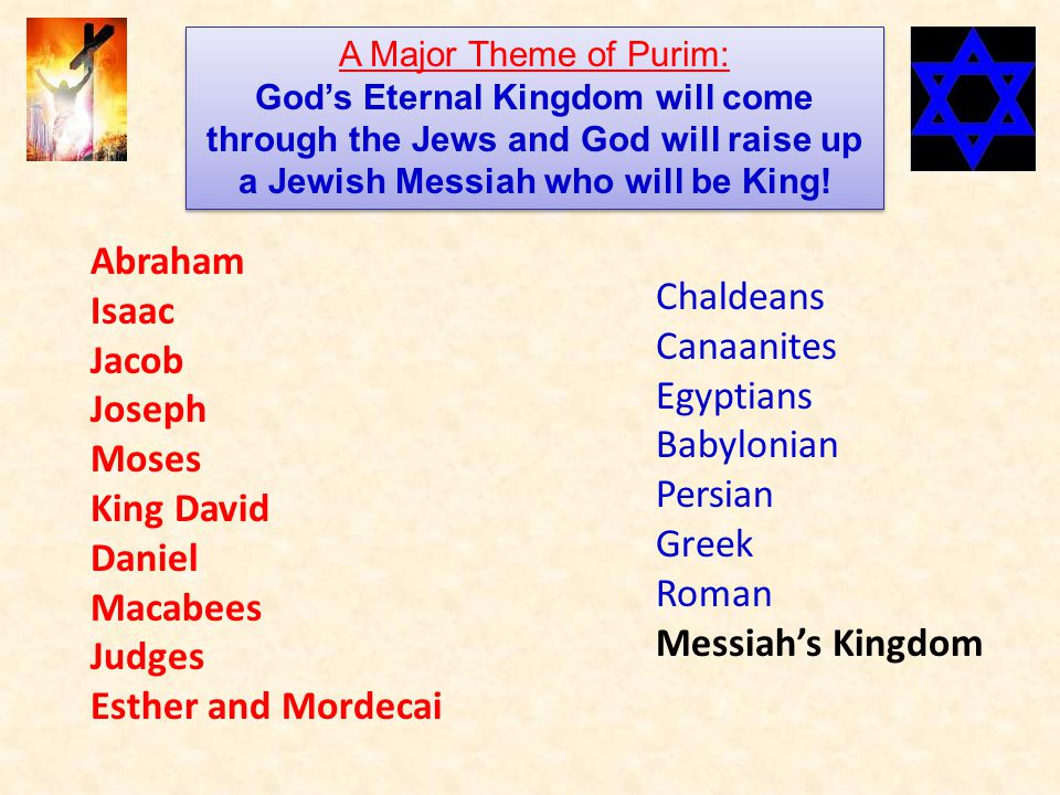 Abraham Isaac Jacob Joseph Moses King David Daniel Macabees Judges Esther and Mordecai Chaldeans Canaanites Egyptians Babylonian Persian Greek Roman Messiah's Kingdom A Major Theme of Purim: God's Eternal Kingdom will come through the Jews and God will raise up a Jewish Messiah who will be King.