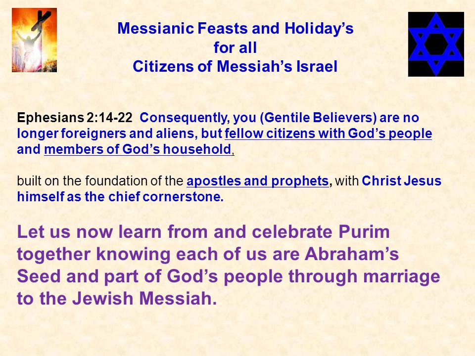 Esther 8:15-17 Mordecai left the king's presence wearing royal garments of blue and white, a large crown of gold and a purple robe of fine linen.