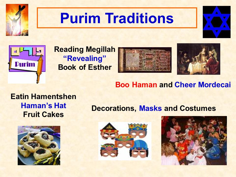 Purim Traditions Reading Megillah Revealing Book of Esther Eatin Hamentshen Haman's Hat Fruit Cakes Boo Haman and Cheer Mordecai Decorations, Masks and Costumes