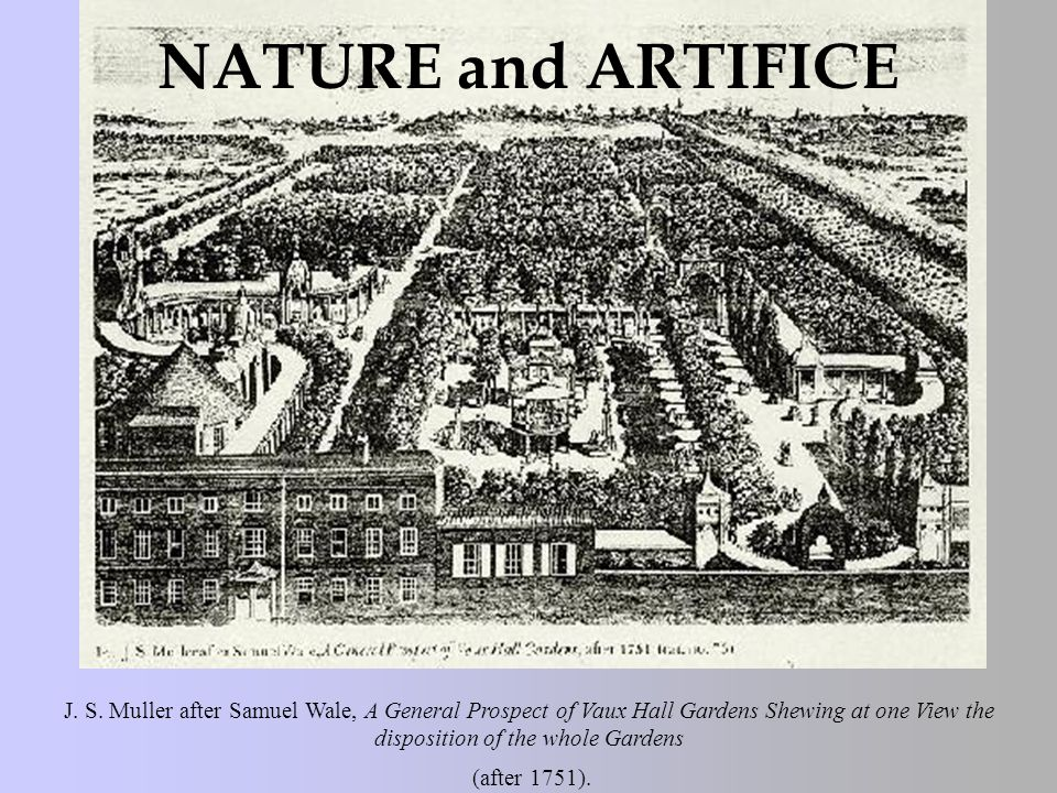 J. S. Muller after Samuel Wale, A General Prospect of Vaux Hall Gardens Shewing at one View the disposition of the whole Gardens (after 1751). NATURE