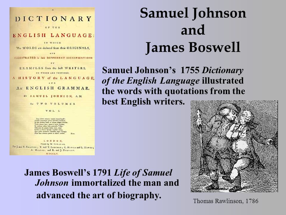 Samuel Johnson and James Boswell Samuel Johnson's 1755 Dictionary of the English Language illustrated the words with quotations from the best English