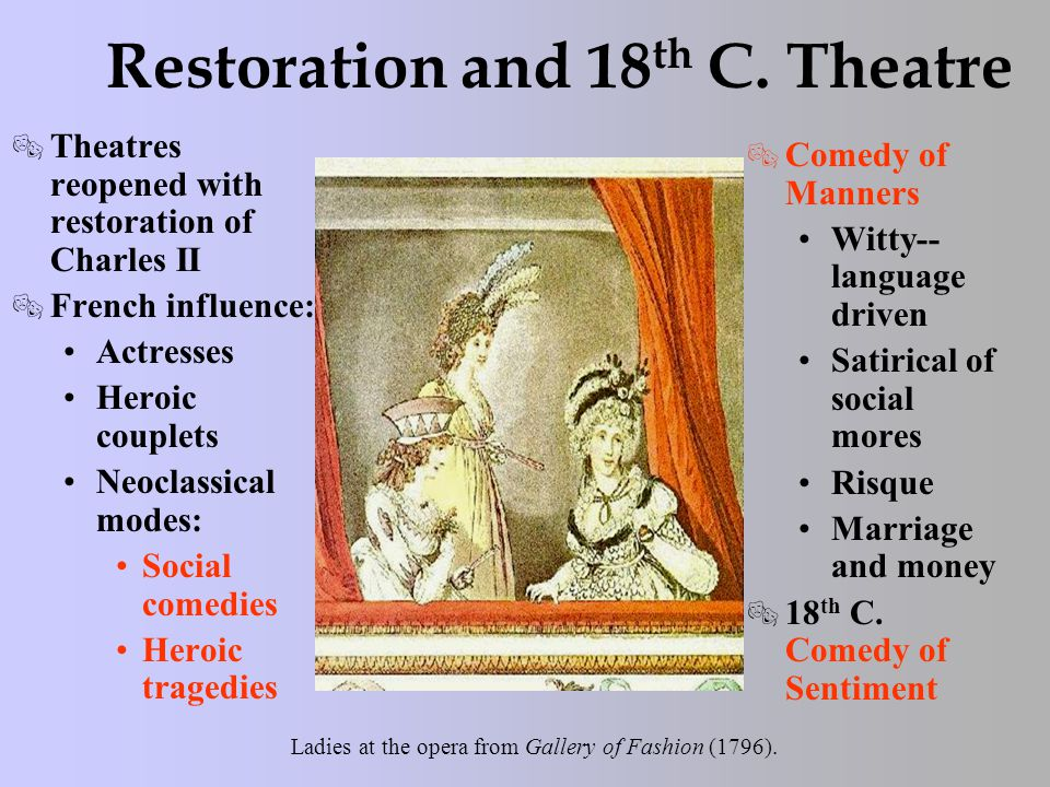 Restoration and 18 th C. Theatre  Theatres reopened with restoration of Charles II  French influence: Actresses Heroic couplets Neoclassical modes: