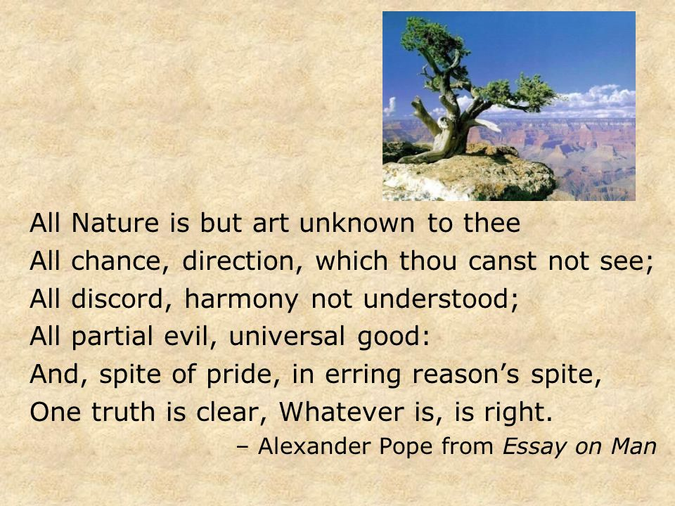 All Nature is but art unknown to thee All chance, direction, which thou canst not see; All discord, harmony not understood; All partial evil, universa