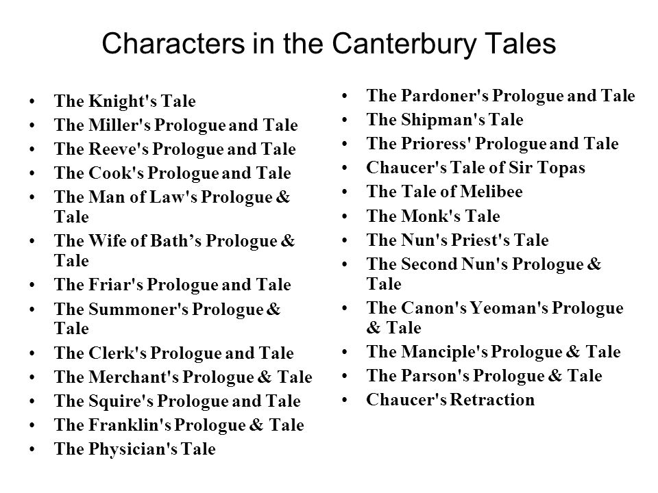 Characters in the Canterbury Tales The Knight s Tale The Miller s Prologue and Tale The Reeve s Prologue and Tale The Cook s Prologue and Tale The Man of Law s Prologue & Tale The Wife of Bath's Prologue & Tale The Friar s Prologue and Tale The Summoner s Prologue & Tale The Clerk s Prologue and Tale The Merchant s Prologue & Tale The Squire s Prologue and Tale The Franklin s Prologue & Tale The Physician s Tale The Pardoner s Prologue and Tale The Shipman s Tale The Prioress Prologue and Tale Chaucer s Tale of Sir Topas The Tale of Melibee The Monk s Tale The Nun s Priest s Tale The Second Nun s Prologue & Tale The Canon s Yeoman s Prologue & Tale The Manciple s Prologue & Tale The Parson s Prologue & Tale Chaucer s Retraction