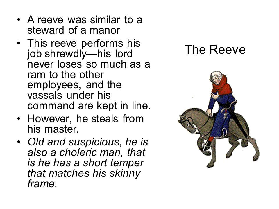 The Reeve A reeve was similar to a steward of a manor This reeve performs his job shrewdly—his lord never loses so much as a ram to the other employee