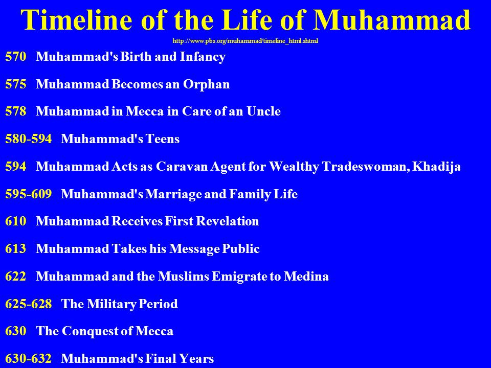 Timeline of the Life of Muhammad http://www.pbs.org/muhammad/timeline_html.shtml 570 Muhammad's Birth and Infancy 575 Muhammad Becomes an Orphan 578 M