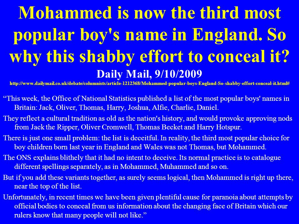 Mohammed is now the third most popular boy's name in England. So why this shabby effort to conceal it? Daily Mail, 9/10/2009 http://www.dailymail.co.u