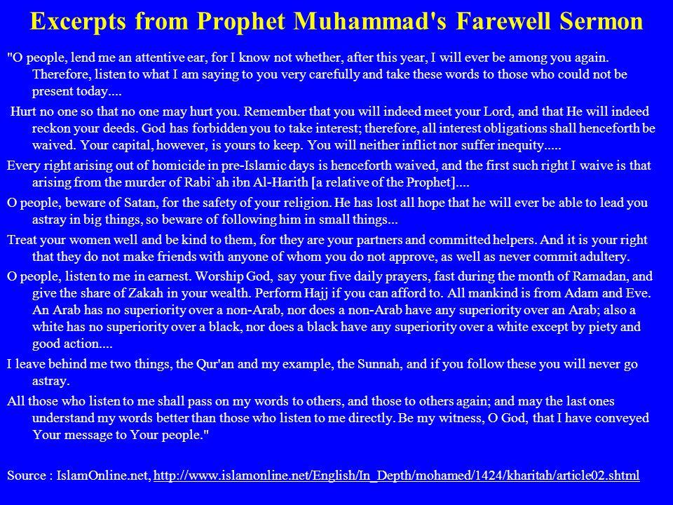 Excerpts from Prophet Muhammad's Farewell Sermon