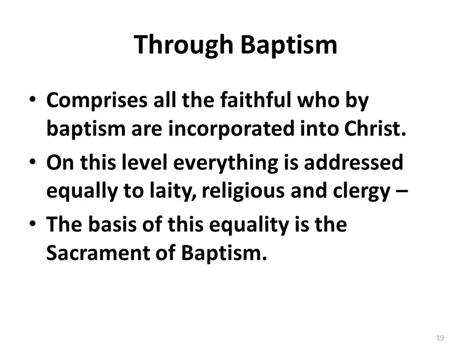 Through Baptism Comprises all the faithful who by baptism are incorporated into Christ. On this level everything is addressed equally to laity, religi