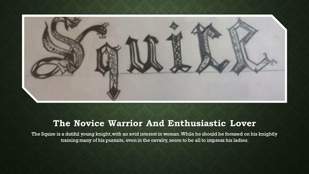 The Novice Warrior And Enthusiastic Lover The Squire is a dutiful young knight, with an avid interest in woman.